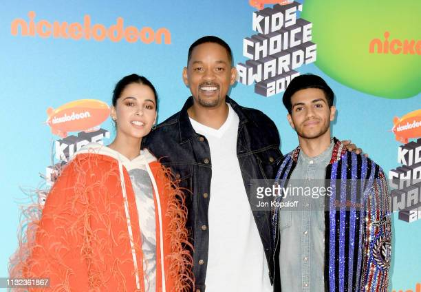 Naomi Scott, Will Smith, and Mena Massoud attend Nickelodeon's 2019 Kids' Choice Awards at Galen Center on March 23, 2019 in Los Angeles, California.