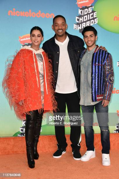 Naomi Scott Will Smith and Mena Massoud attend Nickelodeon's 2019 Kids' Choice Awards at Galen Center on March 23 2019 in Los Angeles California