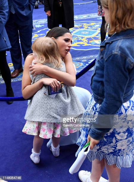 Naomi Scott with young fans at the European Gala Screening of Disney's Aladdin at Odeon Leicester Square on May 09 2019 in London England
