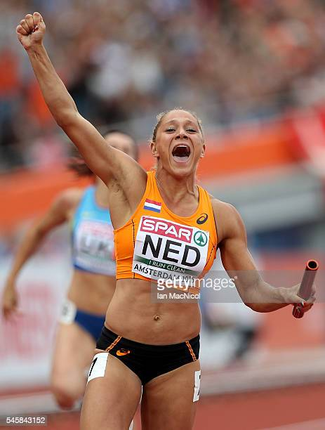 Naomi Sedney of The Netherlands celebrates after winning gold in the final of the womens 4x100m relay on day five of The 23rd European Athletics...