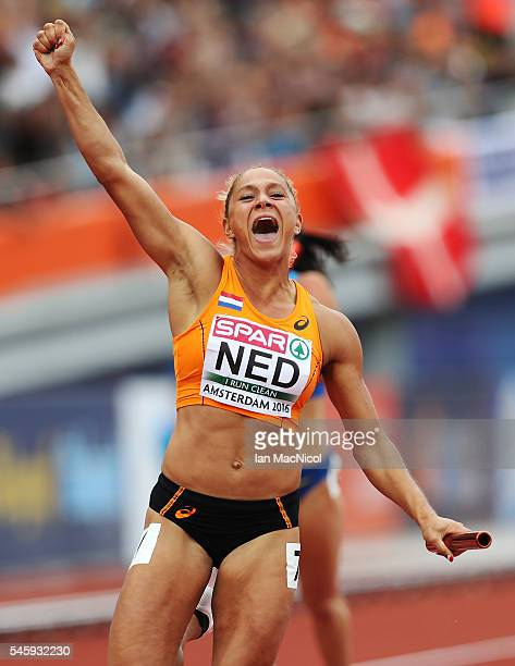 Naomi Sedney of The Netherlands celebrates after winning gold in the final of the womens 4x100m relay during day five of The European Athletics...