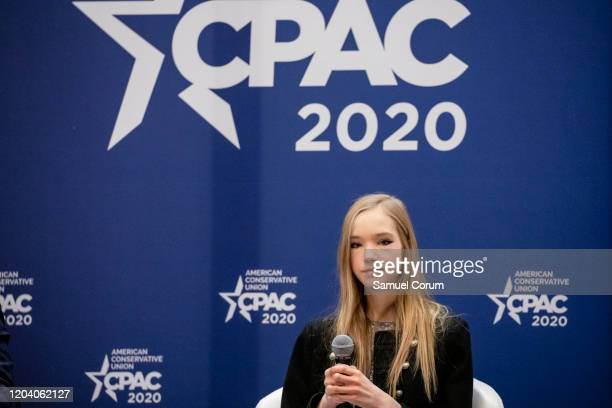 Naomi Seibt a 19 year old climate change skeptic and self proclaimed climate realist speaks during a workshop at the Conservative Political Action...