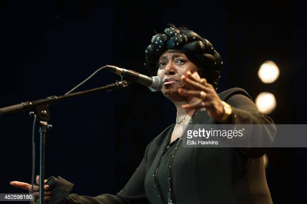 Naomi Shelton performs on stage at Pinede Gould at Jazz A Juan on July 20 2014 in JuanlesPins France