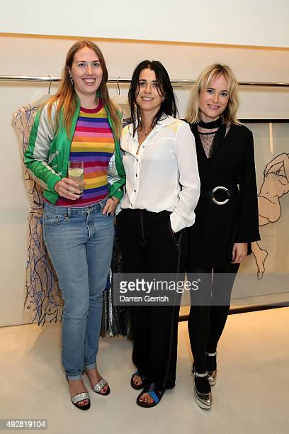 Naomi Smart Emily Sheffield and Julia Hobbs attend the Christopher Kane Art Class 2015 at Christopher Kane Flagship 67 Mount Street on October 15...