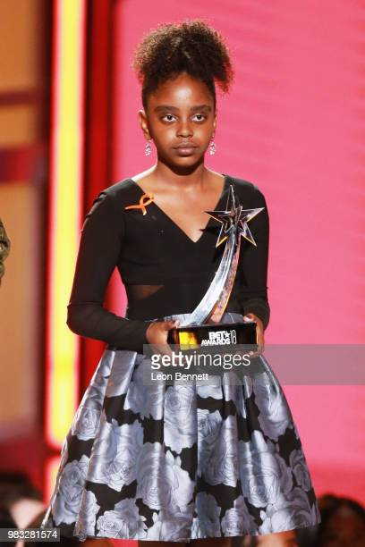 Naomi Wadler is honored onstage at the 2018 BET Awards at Microsoft Theater on June 24 2018 in Los Angeles California