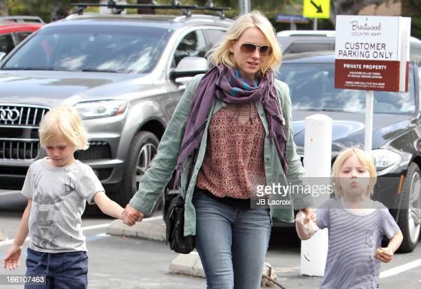 Naomi Watts Alexander Schreiber and Samuel Kai Scheiber are seen on April 8 2013 in Los Angeles California