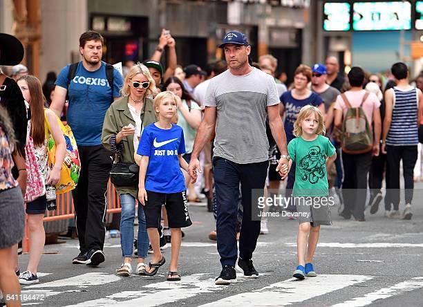 Naomi Watts Alexander Schreiber Liev Schreiber and Samuel Schreiber seen walking in Times Square after attending the Broadway musical Hamilton on...