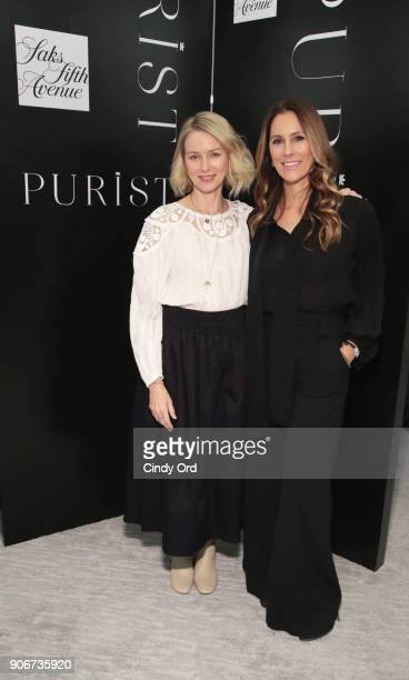 Naomi Watts and Cristina Cuomo pose for a photo together as Saks Fifth Avenue and Purist host Wellness Panel Discussion with Naomi Watts on January...