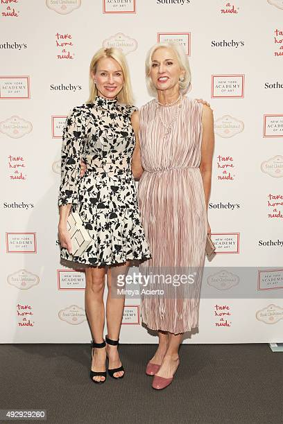 Naomi Watts and Eileen Guggenheim attend 2015 Take Home a Nude Art Auction and Party at Sotheby's on October 15, 2015 in New York City.