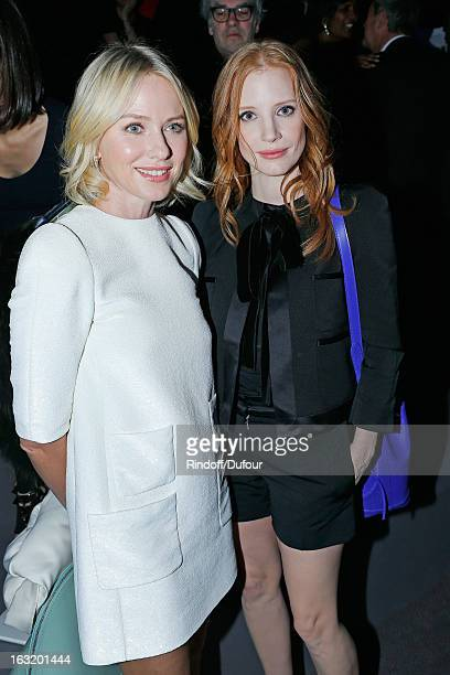 Naomi Watts and Jessica Chastain attend the Louis Vuitton Fall/Winter 2013 ReadytoWear show as part of Paris Fashion Week on March 6 2013 in Paris...