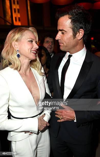 Naomi Watts and Justin Theroux attend the 2015 Vanity Fair Oscar Party hosted by Graydon Carter at the Wallis Annenberg Center for the Performing...