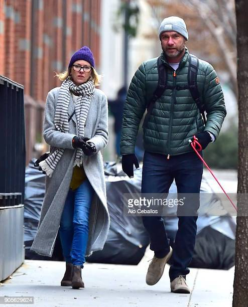 Naomi Watts and Liev Schreiber are seen in Tribeca on January 16 2018 in New York City