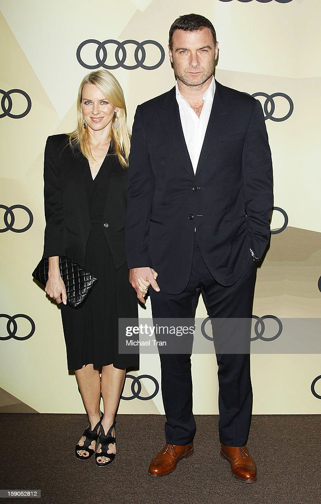 Naomi Watts (L) and Liev Schreiber arrive at the Audi Golden Globe 2013 kick off cocktail party held at Cecconi's Restaurant on January 6, 2013 in Los Angeles, California.