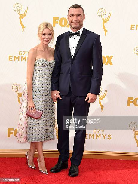 Naomi Watts and Liev Schreiber arrives at the 67th Annual Primetime Emmy Awards at Microsoft Theater on September 20 2015 in Los Angeles California