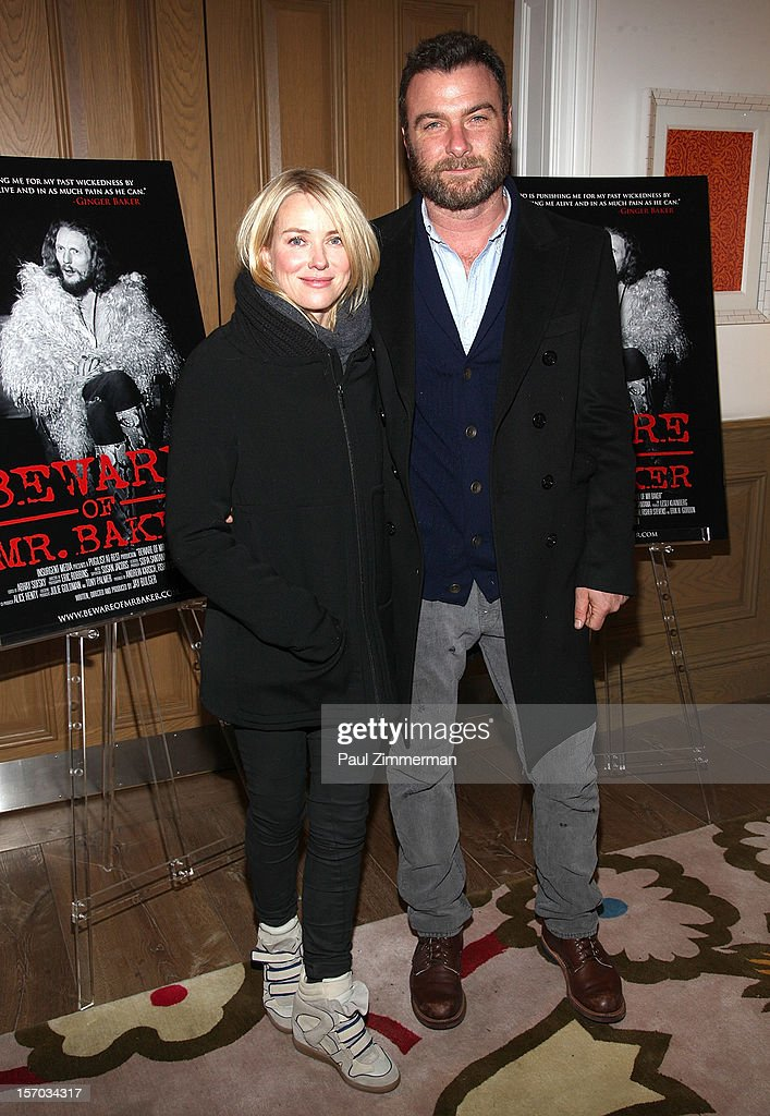 Naomi Watts and Liev Schreiber attend 'Beware Of Mr. Baker' New York Screening at Crosby Street Hotel on November 27, 2012 in New York City.