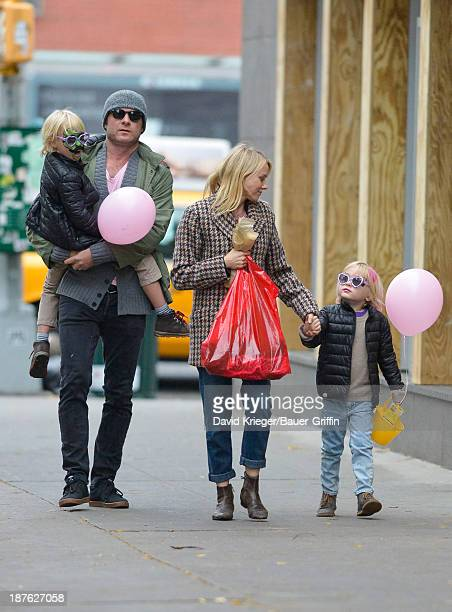 Naomi Watts and Liev Schreiber with their two sons Alexander Schreiber and Samuel Schreiber are seen on November 10 2013 in New York City
