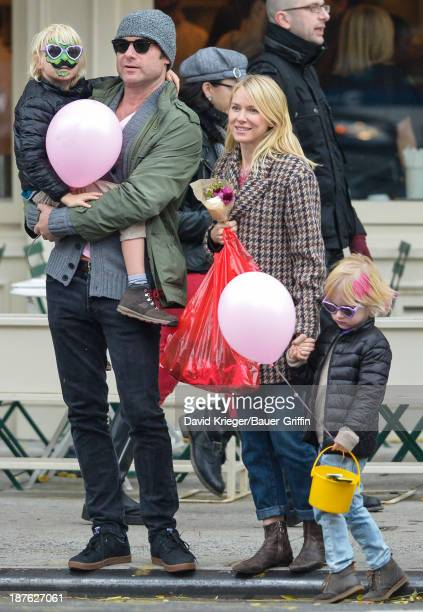 Naomi Watts and Liev Schreiber with their two sons, Alexander Schreiber and Samuel Schreiber are seen on November 10, 2013 in New York City.