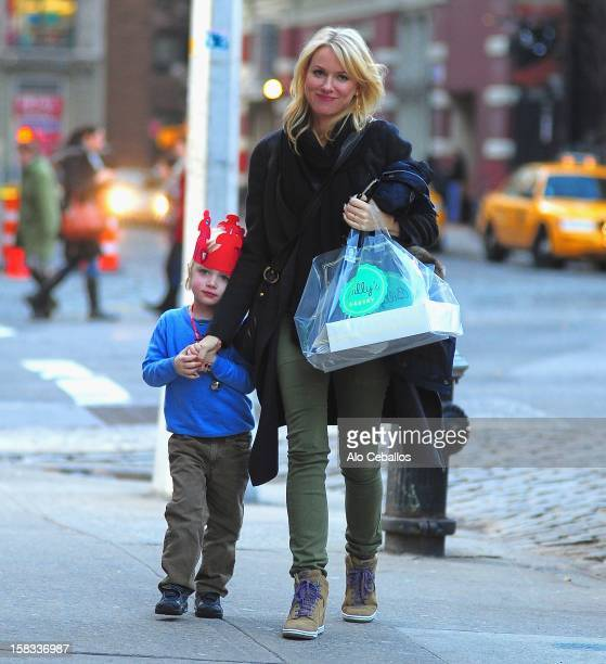 Naomi Watts and Samuel Kai Schreiber are seen in the East Village on December 13 2012 in New York City