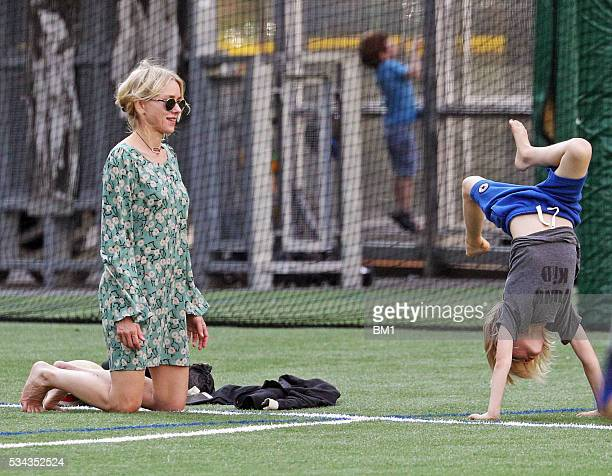 Naomi Watts and son Samuel Schreiber seen on May 25, 2016 in New York City.