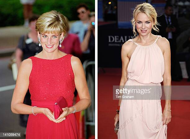 In this composite image a comparison has been made between Diana Princess of Wales and actress Naomi Watts Naomi Watts will reportedly play Diana...