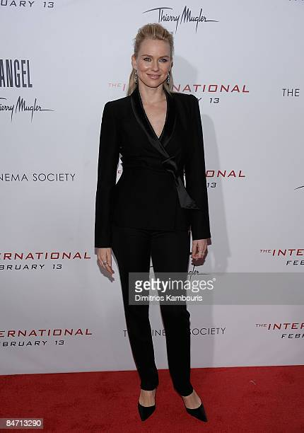 Naomi Watts attends the Cinema Society and Angel by Thierry Mugler screening of 'The International' at AMC Lincoln Square on February 9 2009 in New...