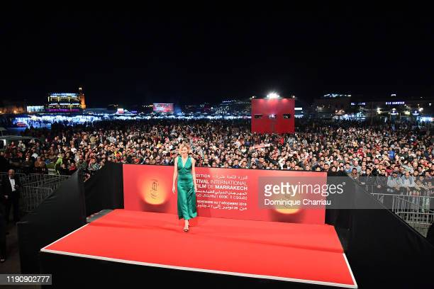 Naomi Watts attends the Screening of King Kong at Jemaa El Fna Place during 18th Marrakech International Film Festival - Day One - on November 29,...