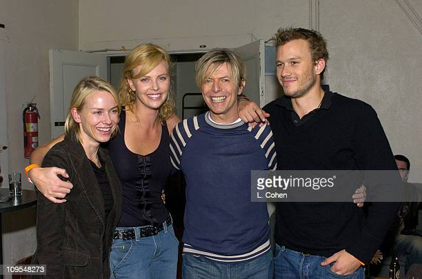 Naomi Watts Charlize Theron David Bowie and Heath Ledger seen backstage at BOWIE's first concert visit to Los Angeles in nearly seven years It was...