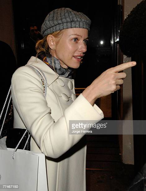 Naomi Watts departs the Lisa Hoffman Bath And Shower Range Launch Party at Harvey Nichols on October 23 in London, England.
