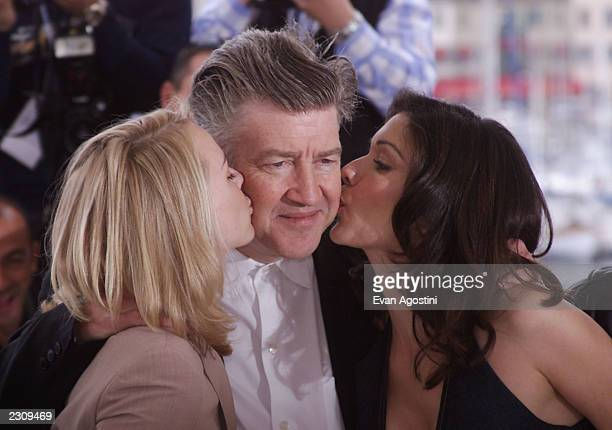Naomi Watts Director David Lynch Laura Elena Harring at the photo call for the film 'Mulholland Drive' during the 54th Cannes Film Festival in Cannes...