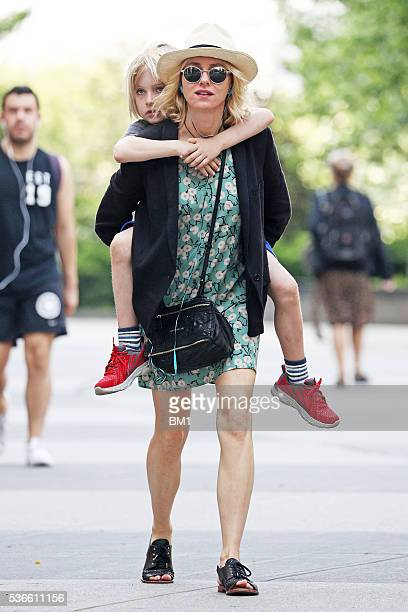 Naomi Watts gives her son Samuel a piggy back on May 26 2016 in New York City