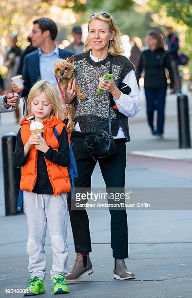 Naomi Watts her son Samuel and her Yorkshire Terrier Bob are seen on October 20 2015 in New York City