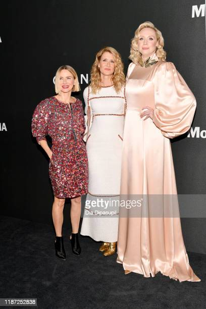Naomi Watts honoree Laura Dern and Gwendoline Christie attend the 2019 Museum Of Modern Art Film Benefit A Tribute To Laura Dern at the Museum of...