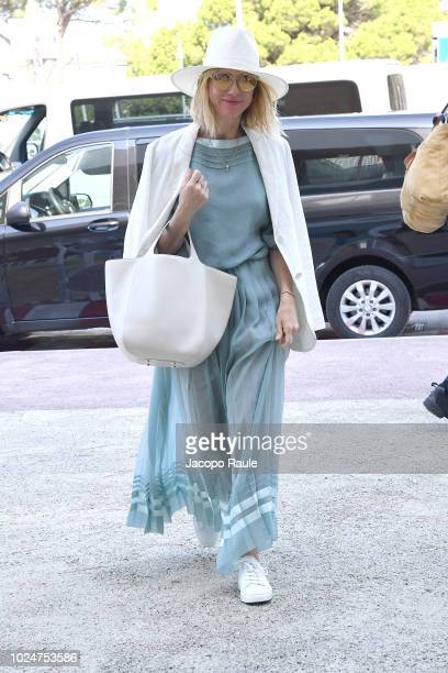 Naomi Watts is seen arriving at Venice Airport during the 75th Venice Film Festival on August 28 2018 in Venice Italy
