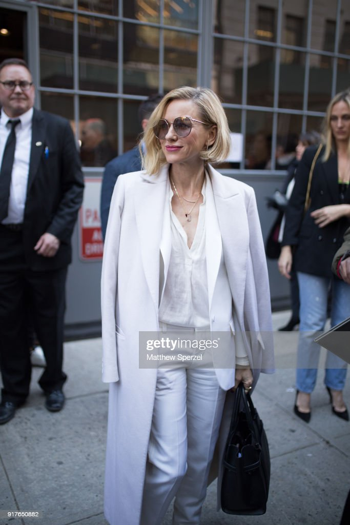Naomi Watts is seen on the street attending Zadig & Voltaire during New York Fashion Week wearing all-white on February 12, 2018 in New York City.
