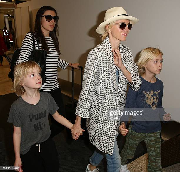 Naomi Watts is seen with her sons Alexander and Samuel upon arrival at Sydney International Airport December 22 2015 in Sydney Australia