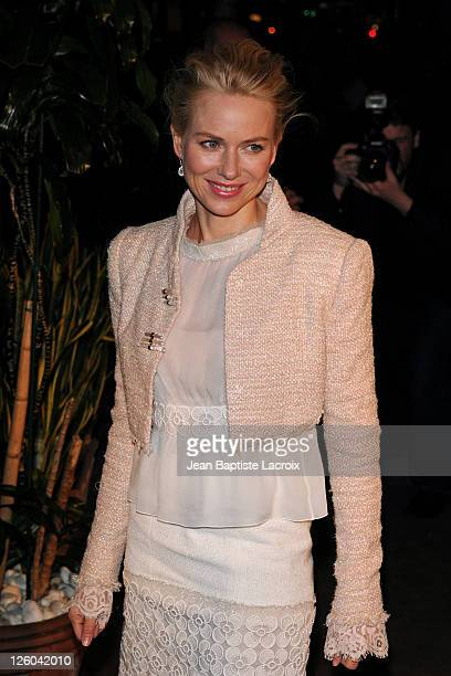 Naomi Watts is sighted attending the Chanel and Charles Finch preOscar party celebrating fashion and film at Madeo restaurant on February 26 2011 in...