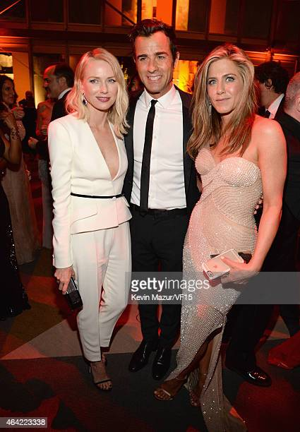 Naomi Watts Justin Theroux and Jennifer Aniston attend the 2015 Vanity Fair Oscar Party hosted by Graydon Carter at the Wallis Annenberg Center for...