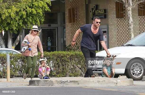Naomi Watts, Liev Schreiber with sons Alexander Schreiber and Samuel Schreiber are seen on February 15, 2014 in Los Angeles, California.