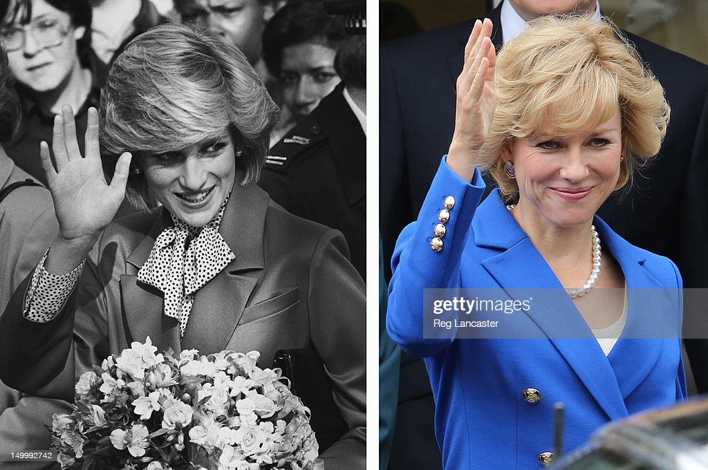 In this composite image a comparison has been made between Diana, Princess of Wales (L) and actress Naomi Watts. Naomi Watts will reportedly play Diana, Princess of Wales in a film biopic directed by Oliver Hirschbiegel. LONDON, UNITED KINGDOM - AUGUST 08: Naomi Watts on the set of the 'Diana' movie on August 8, 2012 in London, England.