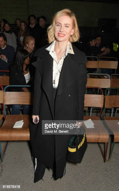 Naomi Watts wearing Burberry at the Burberry February 2018 show during London Fashion Week at Dimco Buildings on February 17 2018 in London England