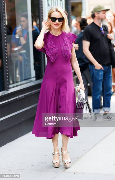 Naomi Watts wears a purple dress at AOL Build on June 29 2017 in New York City