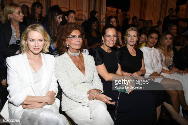 Naomi WattsSofia LorenRoberta Armani and Kate Winslet attend the Giorgio Armani Prive Haute Couture Fall/Winter 20172018 show as part of Haute...