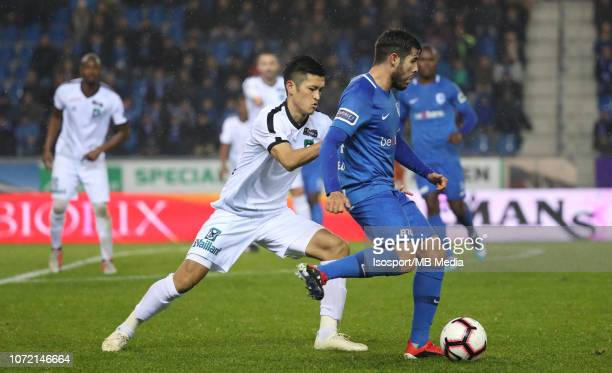 Naomichi Ueda and Alejandro Pozuelo fight for the ball during the Jupiler Pro League match between KRC Genk and Cercle Brugge KSV at Cristal Arena on...