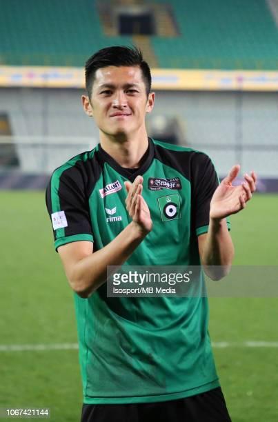 Naomichi Ueda celebrates after winning the Jupiler Pro League match between Cercle Brugge KSV and WaaslandBeveren at Jan Breydel Stadium on November...