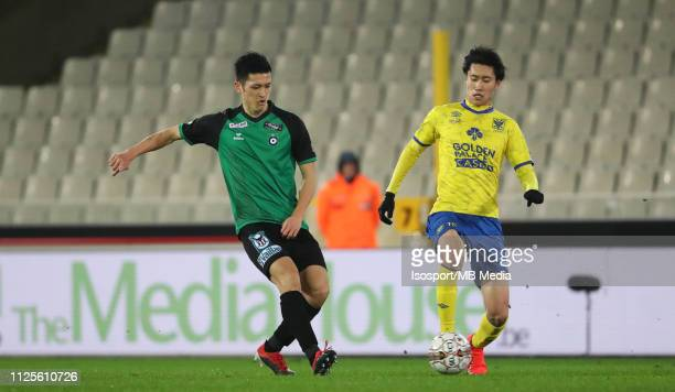 Naomichi Ueda of Cercle and Daichi Kamada of STVV fight for the ball during the Jupiler Pro League match between Cercle Brugge KSV and SintTruidense...