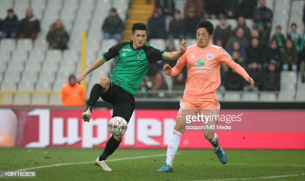 Naomichi Ueda of Cercle and Ryota Morioka of Anderlecht fight for the ball during the Jupiler Pro League match between Cercle Brugge KSV and RSC...