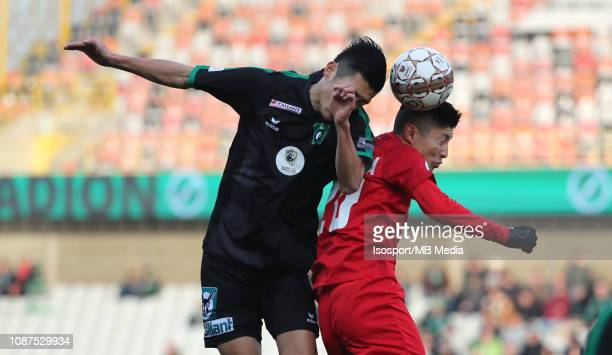 Naomichi Ueda of Cercle and Yuta Toyokawa of Kas Eupen fight for the ball during the Jupiler Pro League match between Cercle Brugge KSV and KAS Eupen...
