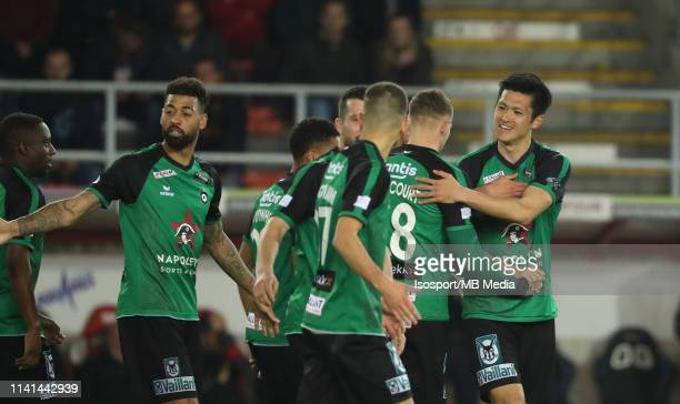 Naomichi Ueda of Cercle celebrates after scoring a goal during the Jupiler Pro League playoff 2 group B match between Royal Excel Mouscron and Cercle...
