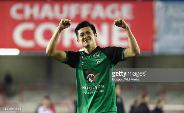 Naomichi Ueda of Cercle celebrates after winning the Jupiler Pro League playoff 2 group B match between Royal Excel Mouscron and Cercle Brugge on...
