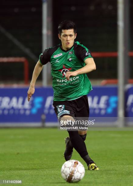 Naomichi Ueda of Cercle in action during the Jupiler Pro League playoff 2 group B match between Royal Excel Mouscron and Cercle Brugge on April 6...